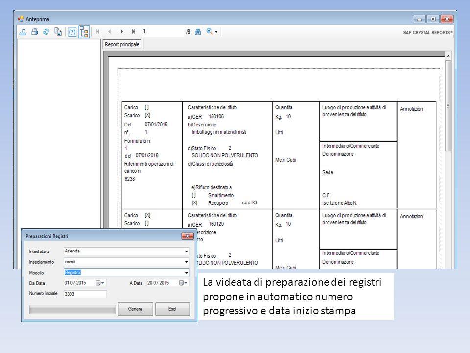 La videata di preparazione dei registri propone in automatico numero progressivo e data inizio stampa