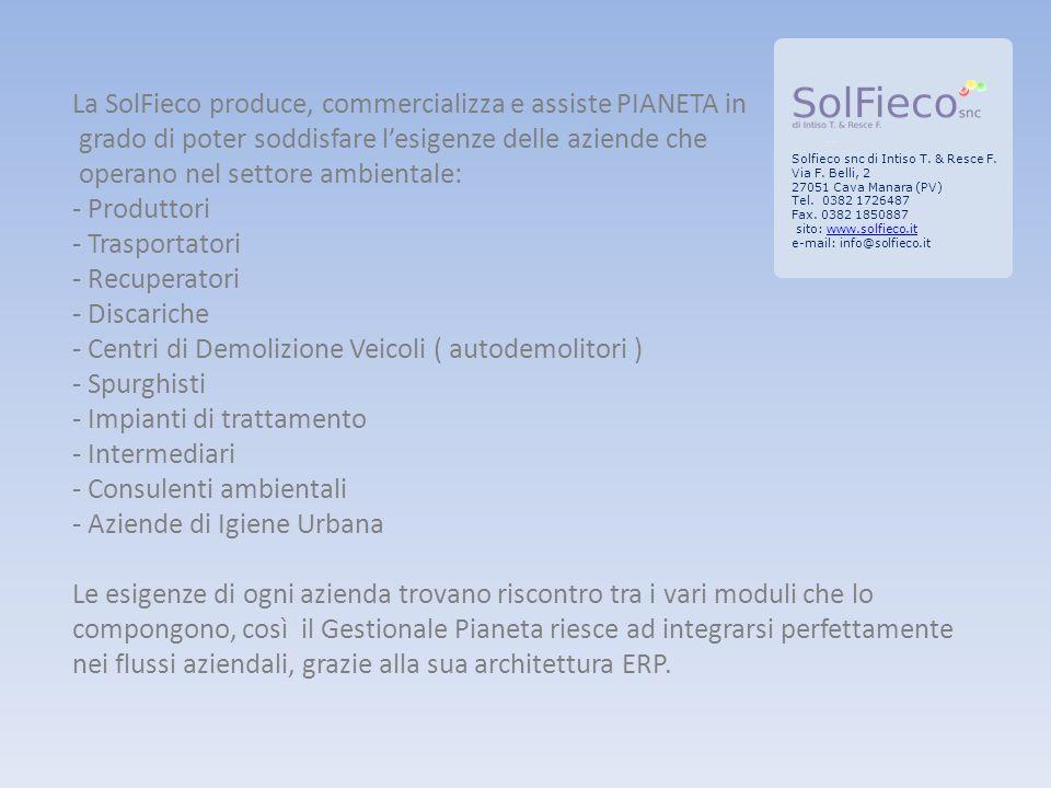 Solfieco snc di Intiso T. & Resce F. Via F. Belli, 2 27051 Cava Manara (PV) Tel.