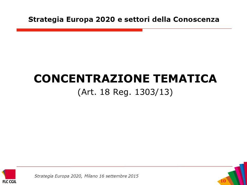 Strategia Europa 2020 e settori della Conoscenza CONCENTRAZIONE TEMATICA (Art.