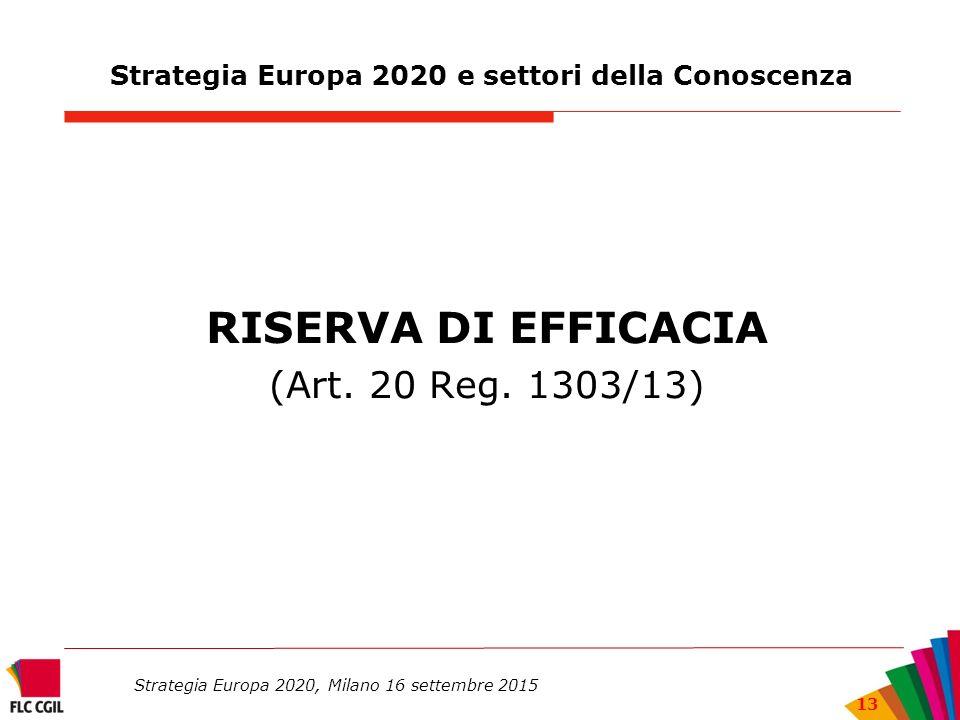 Strategia Europa 2020 e settori della Conoscenza RISERVA DI EFFICACIA (Art.