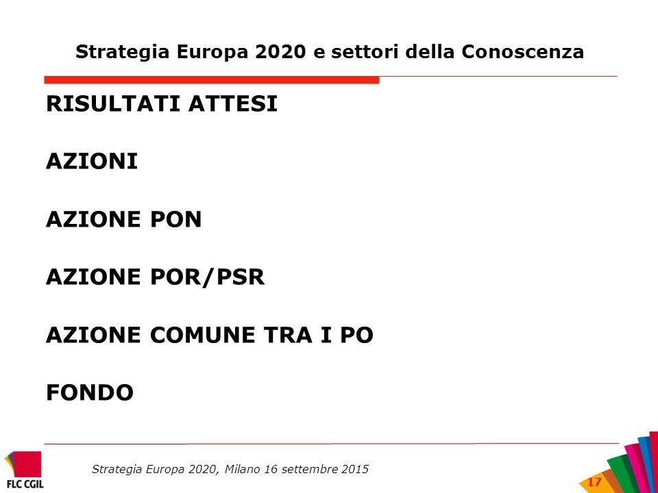 Strategia Europa 2020 e settori della Conoscenza RISULTATI ATTESI AZIONI AZIONE PON AZIONE POR/PSR AZIONE COMUNE TRA I PO FONDO Strategia Europa 2020, Milano 16 settembre 2015 17