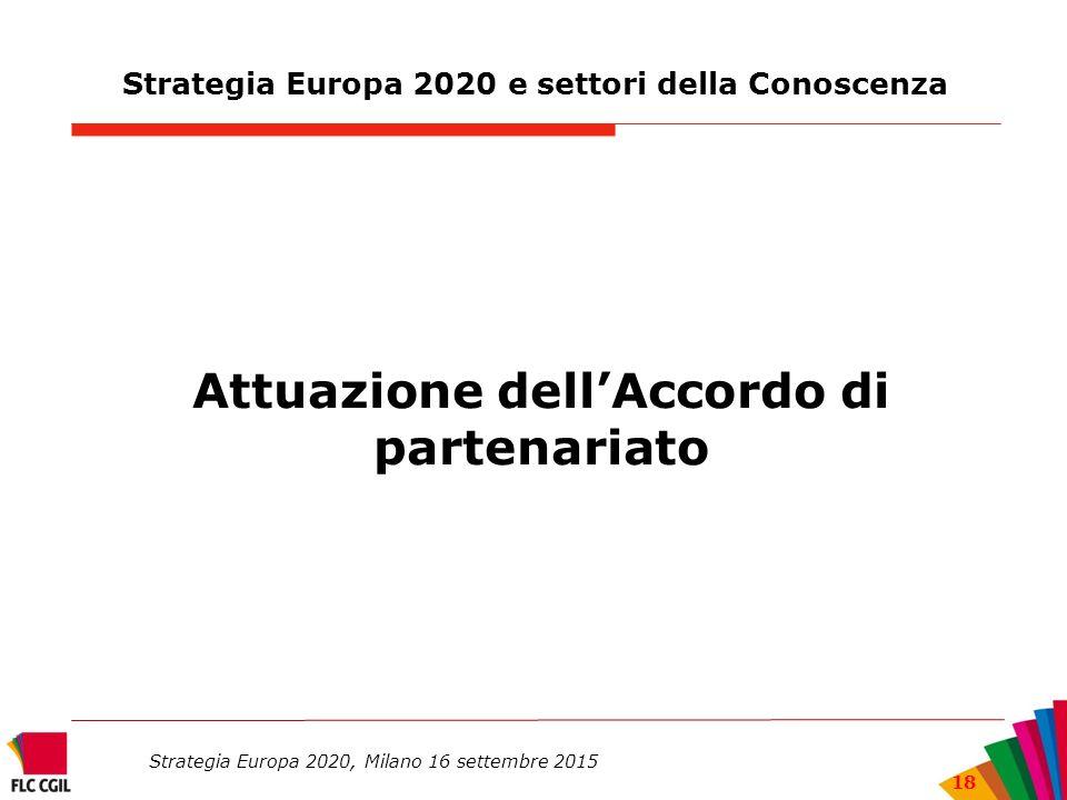 Strategia Europa 2020 e settori della Conoscenza Attuazione dell'Accordo di partenariato Strategia Europa 2020, Milano 16 settembre 2015 18
