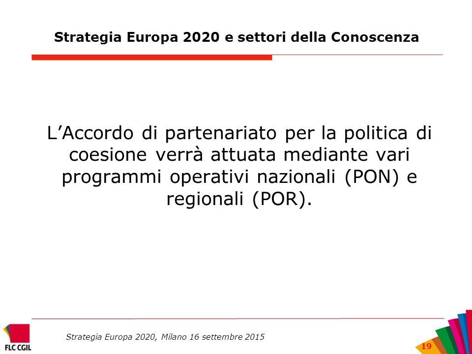 Strategia Europa 2020 e settori della Conoscenza L'Accordo di partenariato per la politica di coesione verrà attuata mediante vari programmi operativi nazionali (PON) e regionali (POR).