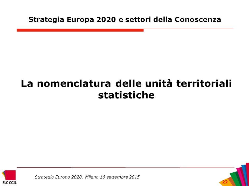 Strategia Europa 2020 e settori della Conoscenza La nomenclatura delle unità territoriali statistiche Strategia Europa 2020, Milano 16 settembre 2015 22