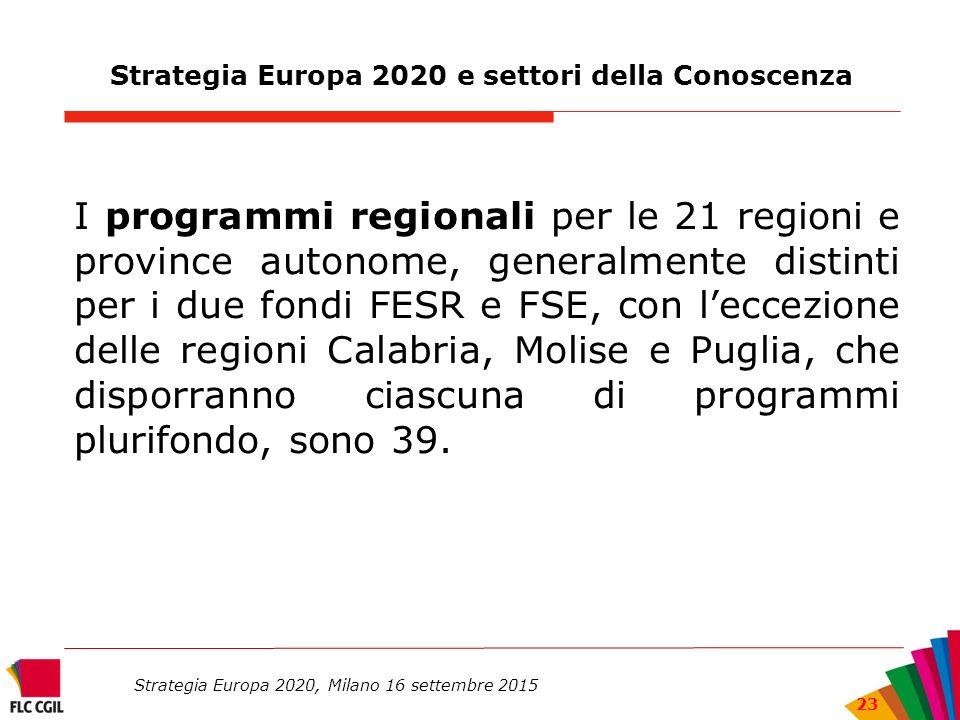 Strategia Europa 2020 e settori della Conoscenza I programmi regionali per le 21 regioni e province autonome, generalmente distinti per i due fondi FESR e FSE, con l'eccezione delle regioni Calabria, Molise e Puglia, che disporranno ciascuna di programmi plurifondo, sono 39.