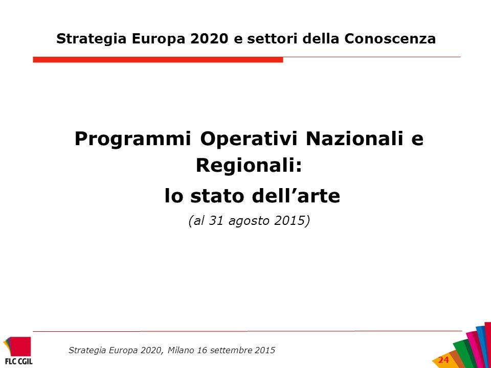 Strategia Europa 2020 e settori della Conoscenza Programmi Operativi Nazionali e Regionali: lo stato dell'arte (al 31 agosto 2015) Strategia Europa 2020, Milano 16 settembre 2015 24