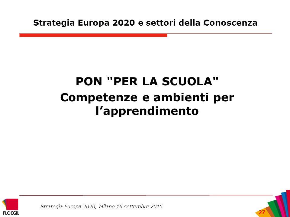 Strategia Europa 2020 e settori della Conoscenza PON PER LA SCUOLA Competenze e ambienti per l'apprendimento Strategia Europa 2020, Milano 16 settembre 2015 27