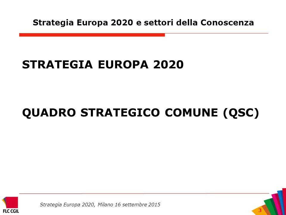 Strategia Europa 2020, Milano 16 settembre 2015 3 Strategia Europa 2020 e settori della Conoscenza STRATEGIA EUROPA 2020 QUADRO STRATEGICO COMUNE (QSC)