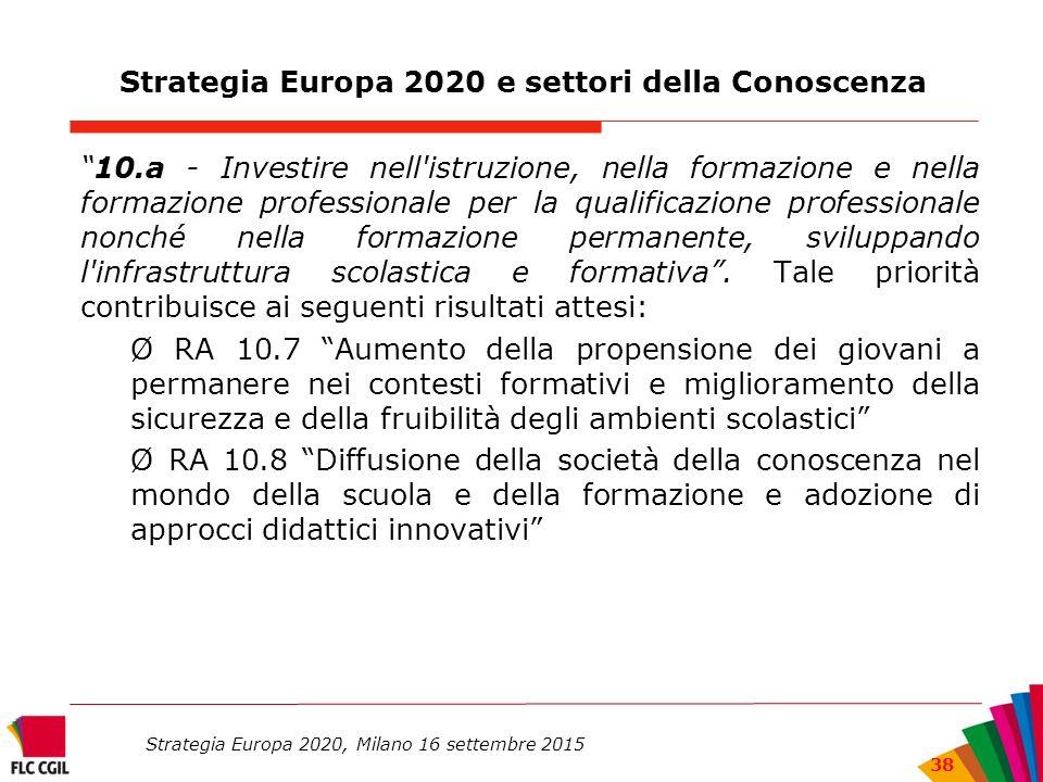 Strategia Europa 2020 e settori della Conoscenza 10.a - Investire nell istruzione, nella formazione e nella formazione professionale per la qualificazione professionale nonché nella formazione permanente, sviluppando l infrastruttura scolastica e formativa .