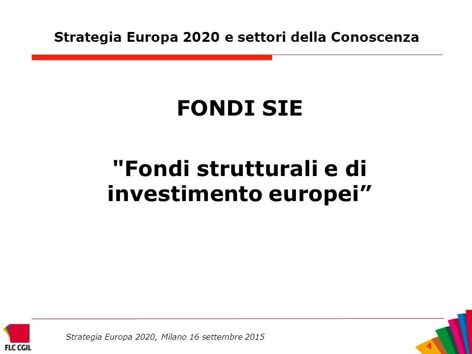 Strategia Europa 2020 e settori della Conoscenza FONDI SIE Fondi strutturali e di investimento europei Strategia Europa 2020, Milano 16 settembre 2015 4