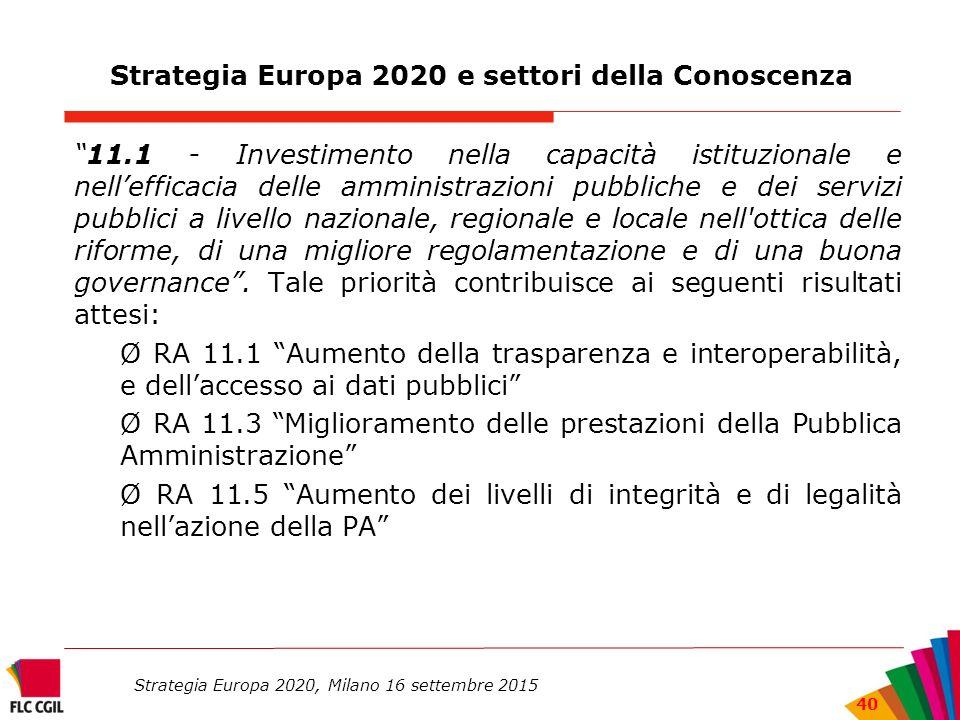 Strategia Europa 2020 e settori della Conoscenza 11.1 - Investimento nella capacità istituzionale e nell'efficacia delle amministrazioni pubbliche e dei servizi pubblici a livello nazionale, regionale e locale nell ottica delle riforme, di una migliore regolamentazione e di una buona governance .