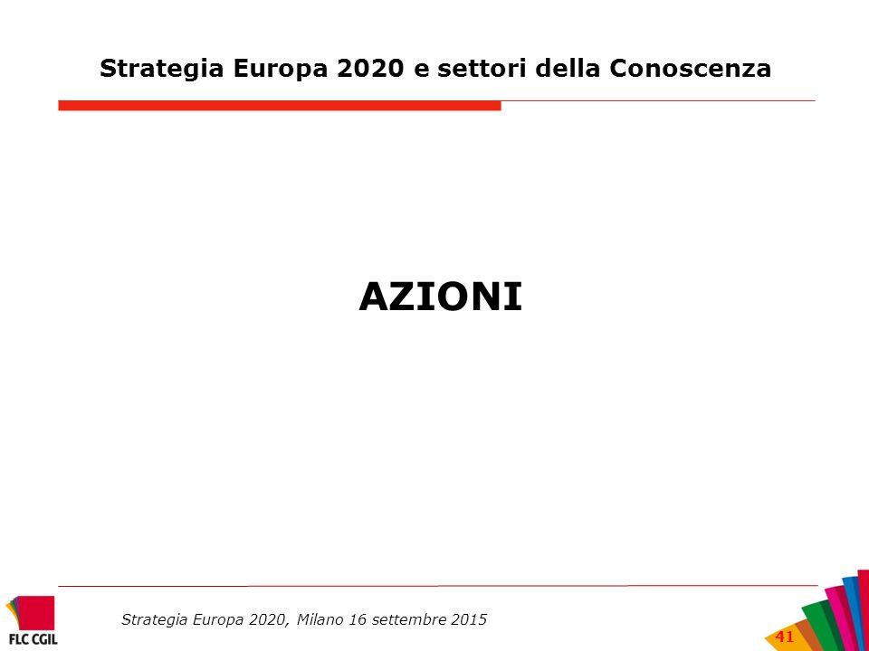 Strategia Europa 2020 e settori della Conoscenza AZIONI Strategia Europa 2020, Milano 16 settembre 2015 41