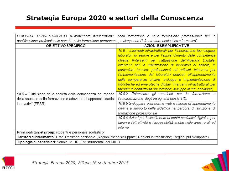Strategia Europa 2020 e settori della Conoscenza PRIORITA' D'INVESTIMENTO 10.a Investire nell istruzione, nella formazione e nella formazione professionale per la qualificazione professionale nonché nella formazione permanente, sviluppando l infrastruttura scolastica e formativa OBIETTIVO SPECIFICOAZIONI ESEMPLIFICATIVE 10.8 – Diffusione della società della conoscenza nel mondo della scuola e della formazione e adozione di approcci didattici innovativi (FESR) 10.8.1 Interventi infrastrutturali per l'innovazione tecnologica, laboratori di settore e per l'apprendimento delle competenze chiave [Interventi per l'attuazione dell'Agenda Digitale; interventi per la realizzazione di laboratori di settore, in particolare tecnico- professionali ed artistici; interventi per l'implementazione dei laboratori dedicati all'apprendimento delle competenze chiave; sviluppo e implementazione di biblioteche ed emeroteche digitali; interventi infrastrutturali per favorire la connettività sul territorio; sviluppo di reti, cablaggio] 10.8.2 Potenziare gli ambienti per la formazione e l'autoformazione degli insegnanti con le TIC; 10.8.5 Sviluppare piattaforme web e risorse di apprendimento on-line a supporto della didattica nei percorsi di istruzione, di formazione professionale 10.8.6 Azioni per l'allestimento di centri scolastici digitali e per favorire l'attrattività e l'accessibilità anche nelle aree rurali ed interne Principali target group: studenti e personale scolastico Territori di riferimento: Tutto il territorio nazionale (Regioni meno sviluppate; Regioni in transizione; Regioni più sviluppate) Tipologia di beneficiari: Scuole, MIUR, Enti strumentali del MIUR Strategia Europa 2020, Milano 16 settembre 2015 46