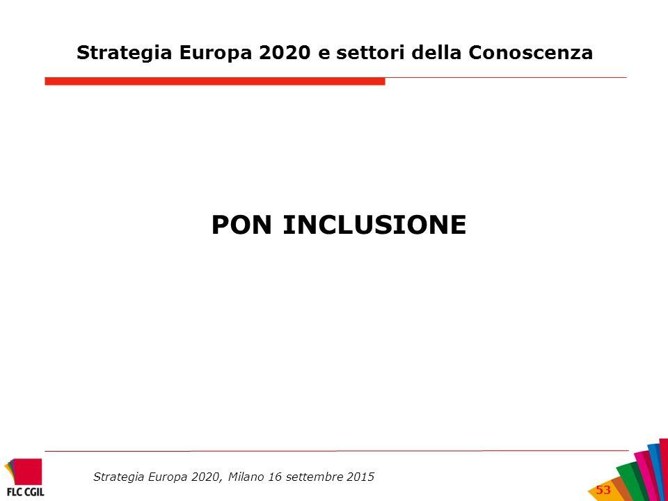 Strategia Europa 2020 e settori della Conoscenza PON INCLUSIONE Strategia Europa 2020, Milano 16 settembre 2015 53