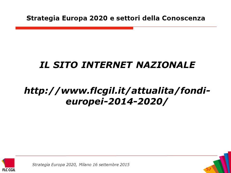 Strategia Europa 2020 e settori della Conoscenza IL SITO INTERNET NAZIONALE http://www.flcgil.it/attualita/fondi- europei-2014-2020/ Strategia Europa 2020, Milano 16 settembre 2015 57