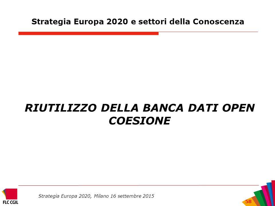 Strategia Europa 2020 e settori della Conoscenza RIUTILIZZO DELLA BANCA DATI OPEN COESIONE Strategia Europa 2020, Milano 16 settembre 2015 58