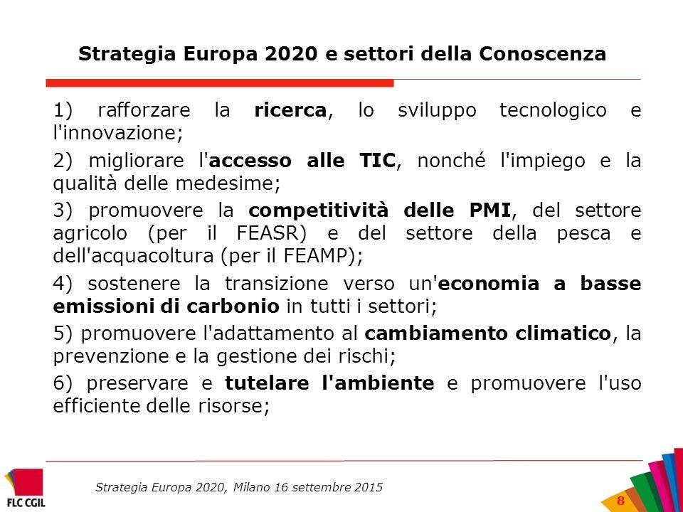 Strategia Europa 2020 e settori della Conoscenza 1) rafforzare la ricerca, lo sviluppo tecnologico e l innovazione; 2) migliorare l accesso alle TIC, nonché l impiego e la qualità delle medesime; 3) promuovere la competitività delle PMI, del settore agricolo (per il FEASR) e del settore della pesca e dell acquacoltura (per il FEAMP); 4) sostenere la transizione verso un economia a basse emissioni di carbonio in tutti i settori; 5) promuovere l adattamento al cambiamento climatico, la prevenzione e la gestione dei rischi; 6) preservare e tutelare l ambiente e promuovere l uso efficiente delle risorse; Strategia Europa 2020, Milano 16 settembre 2015 8