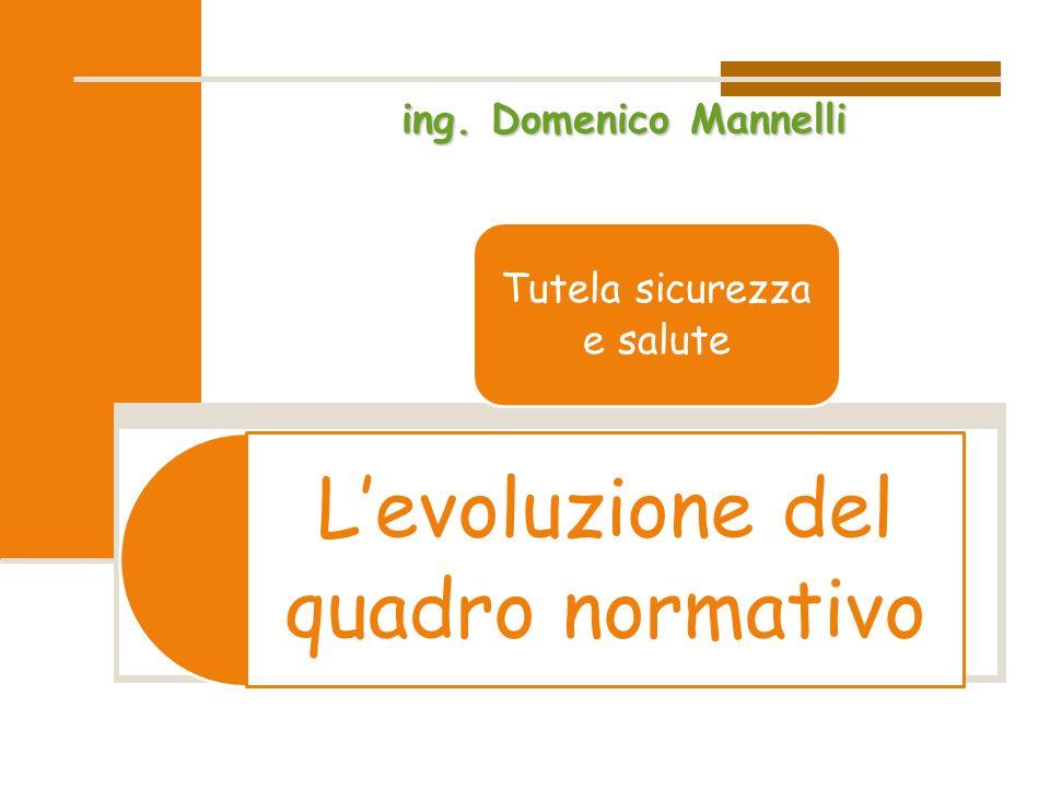 L'evoluzione del quadro normativo Tutela sicurezza e salute ing. Domenico Mannelli