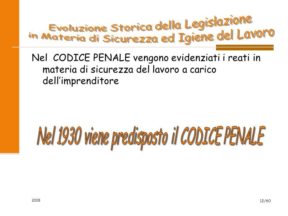 2008 12/60 Nel CODICE PENALE vengono evidenziati i reati in materia di sicurezza del lavoro a carico dell'imprenditore