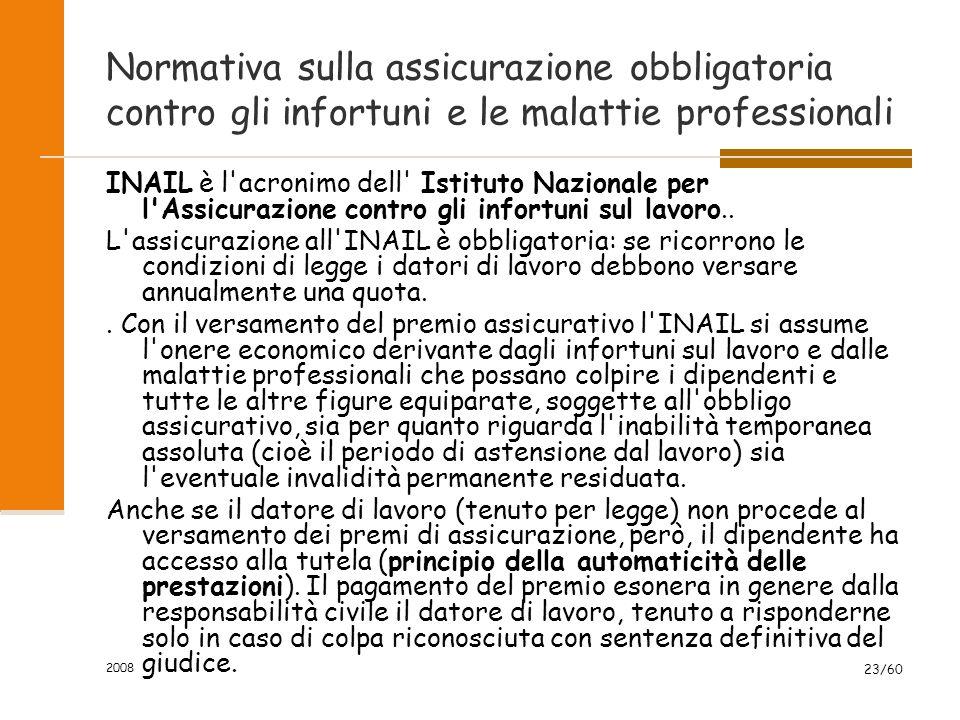2008 23/60 Normativa sulla assicurazione obbligatoria contro gli infortuni e le malattie professionali INAIL è l acronimo dell Istituto Nazionale per l Assicurazione contro gli infortuni sul lavoro..