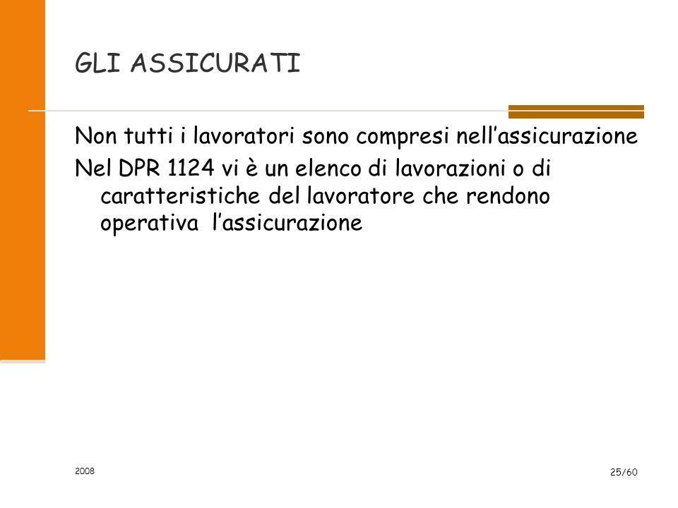 2008 25/60 GLI ASSICURATI Non tutti i lavoratori sono compresi nell'assicurazione Nel DPR 1124 vi è un elenco di lavorazioni o di caratteristiche del lavoratore che rendono operativa l'assicurazione