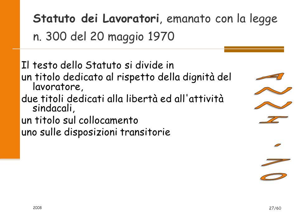 2008 27/60 Statuto dei Lavoratori, emanato con la legge n.