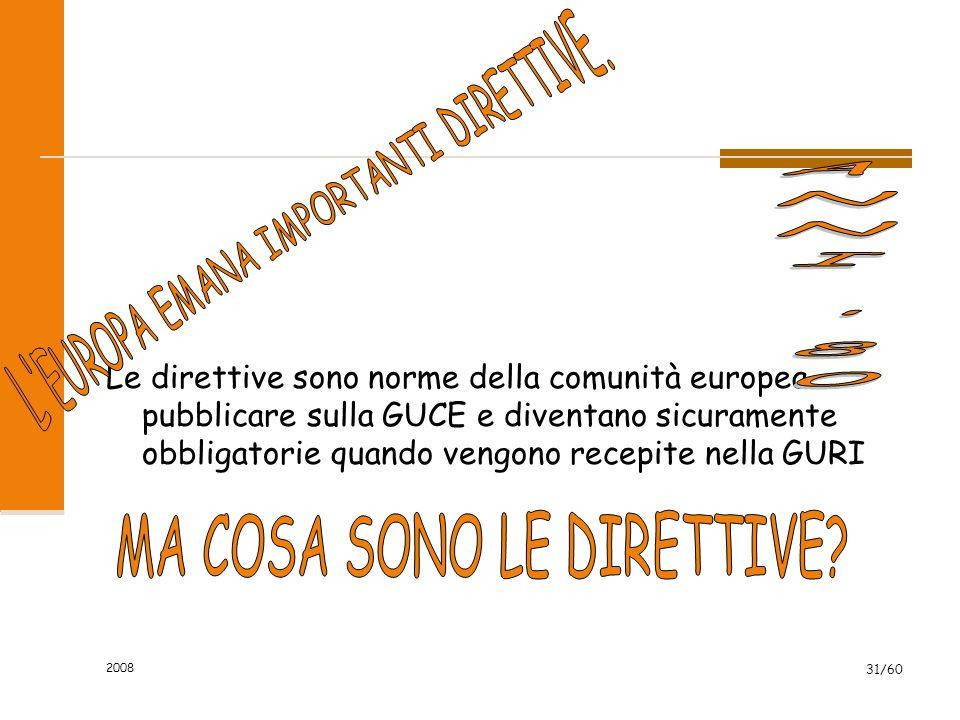 Le direttive sono norme della comunità europea pubblicare sulla GUCE e diventano sicuramente obbligatorie quando vengono recepite nella GURI 2008 31/60
