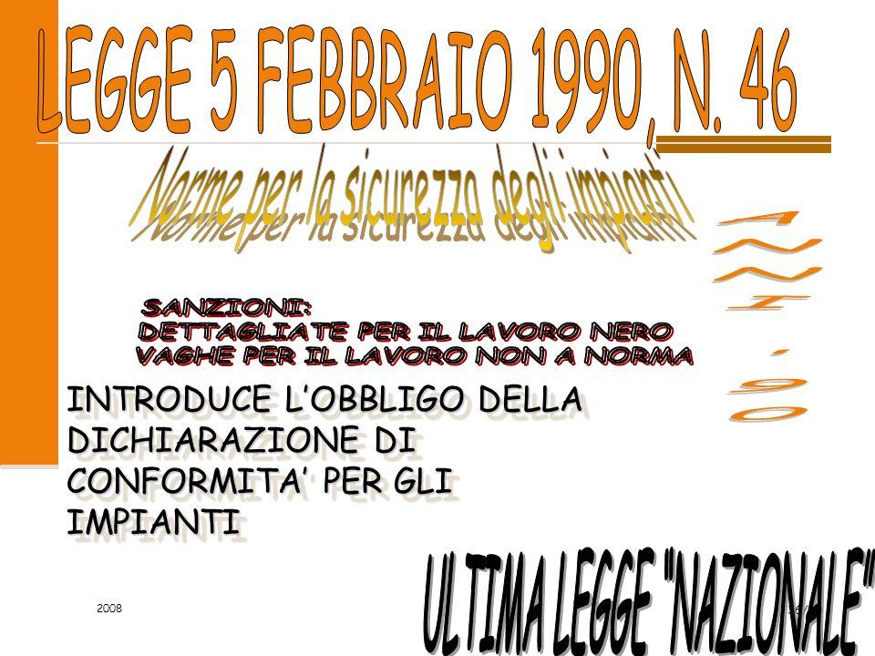 2008 36/60 INTRODUCE L'OBBLIGO DELLA DICHIARAZIONE DI CONFORMITA' PER GLI IMPIANTI