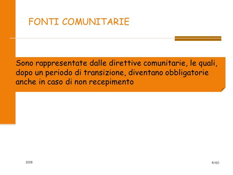 2008 4/60 FONTI COMUNITARIE Sono rappresentate dalle direttive comunitarie, le quali, dopo un periodo di transizione, diventano obbligatorie anche in caso di non recepimento