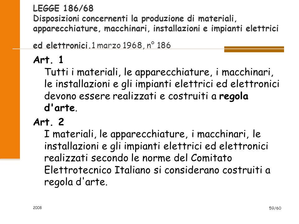 2008 59/60 LEGGE 186/68 Disposizioni concernenti la produzione di materiali, apparecchiature, macchinari, installazioni e impianti elettrici ed elettronici.1 marzo 1968, n° 186 Art.