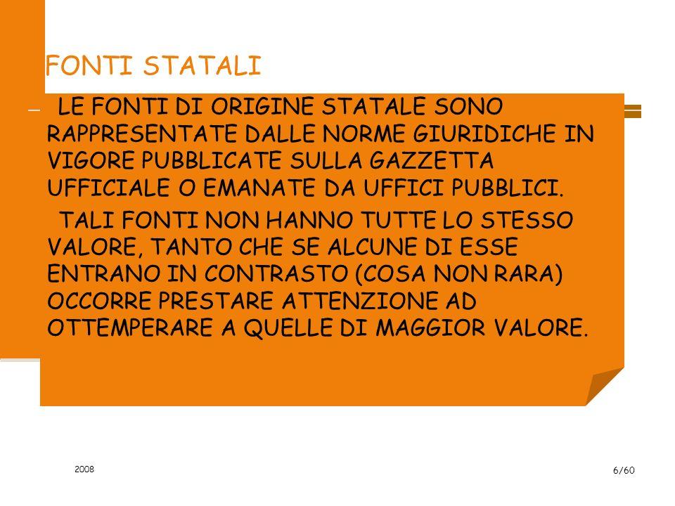 2008 6/60 FONTI STATALI LE FONTI DI ORIGINE STATALE SONO RAPPRESENTATE DALLE NORME GIURIDICHE IN VIGORE PUBBLICATE SULLA GAZZETTA UFFICIALE O EMANATE DA UFFICI PUBBLICI.
