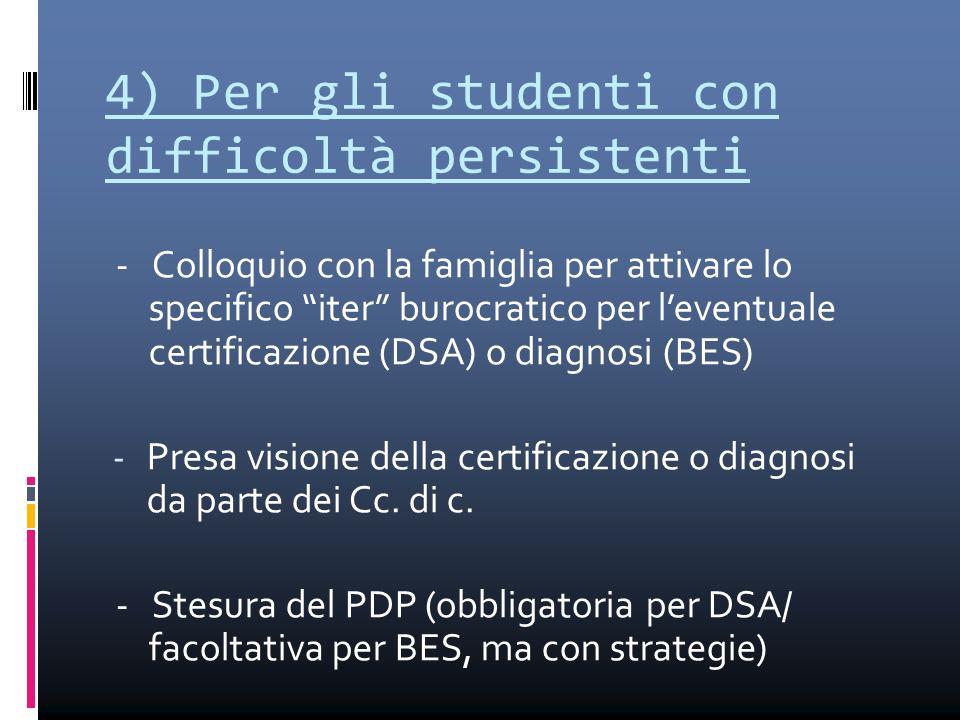 """4) Per gli studenti con difficoltà persistenti - Colloquio con la famiglia per attivare lo specifico """"iter"""" burocratico per l'eventuale certificazione"""