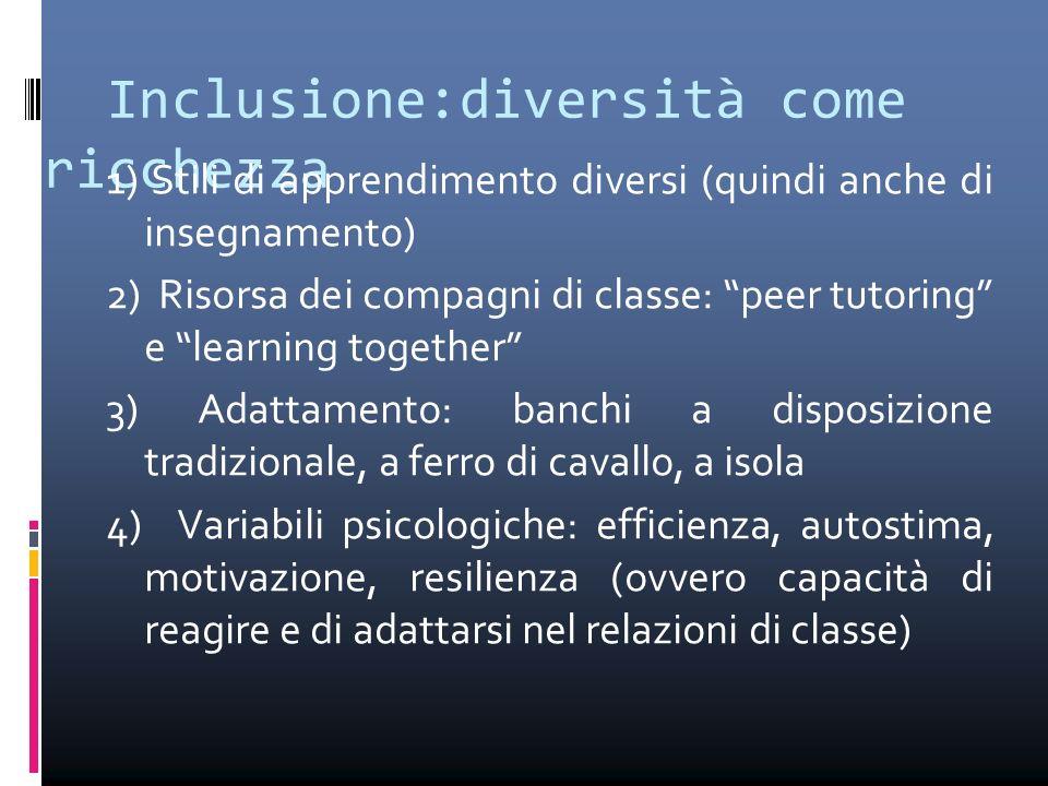 """Inclusione:diversità come ricchezza 1) Stili di apprendimento diversi (quindi anche di insegnamento) 2) Risorsa dei compagni di classe: """"peer tutoring"""