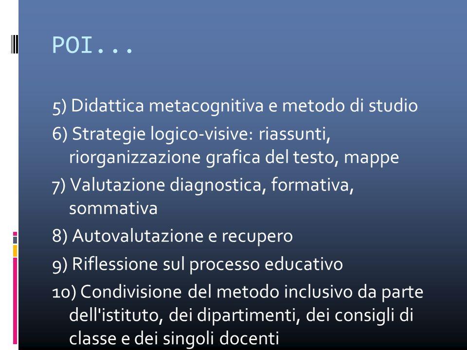 POI... 5) Didattica metacognitiva e metodo di studio 6) Strategie logico-visive: riassunti, riorganizzazione grafica del testo, mappe 7) Valutazione d