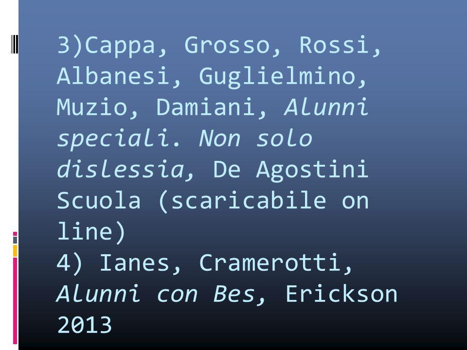 3)Cappa, Grosso, Rossi, Albanesi, Guglielmino, Muzio, Damiani, Alunni speciali. Non solo dislessia, De Agostini Scuola (scaricabile on line) 4) Ianes,
