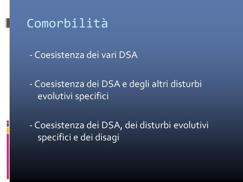 Comorbilità - Coesistenza dei vari DSA - Coesistenza dei DSA e degli altri disturbi evolutivi specifici - Coesistenza dei DSA, dei disturbi evolutivi