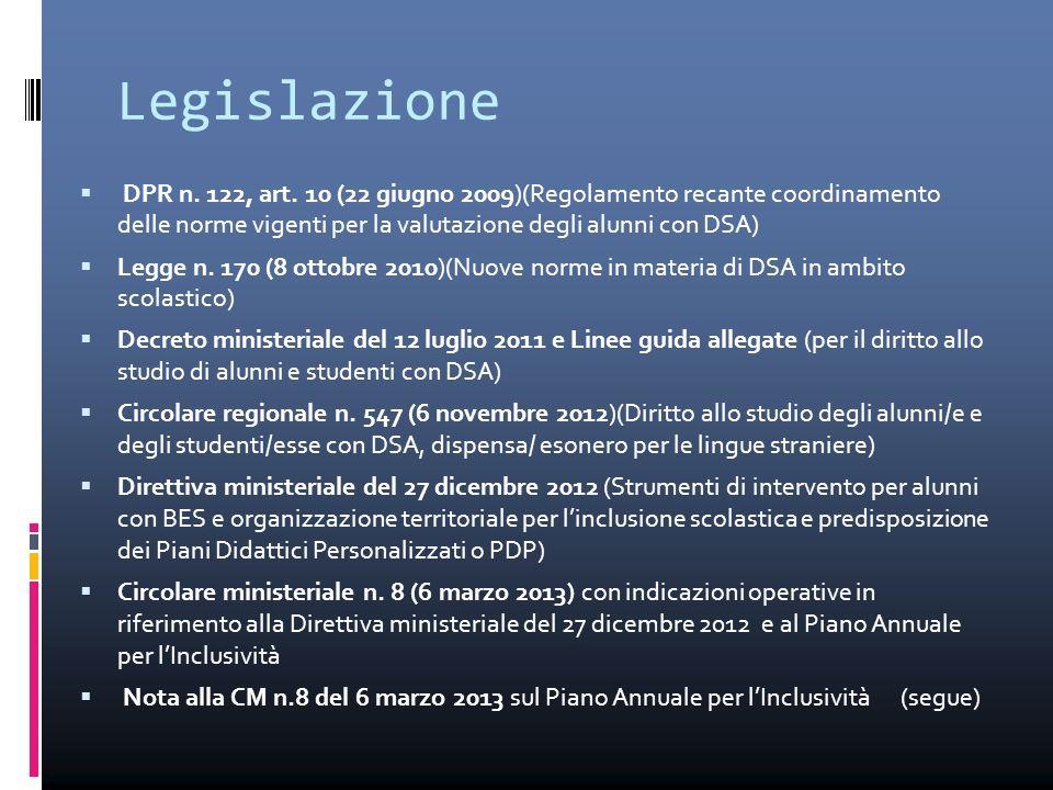 Legislazione  DPR n. 122, art. 10 (22 giugno 2009)(Regolamento recante coordinamento delle norme vigenti per la valutazione degli alunni con DSA)  L