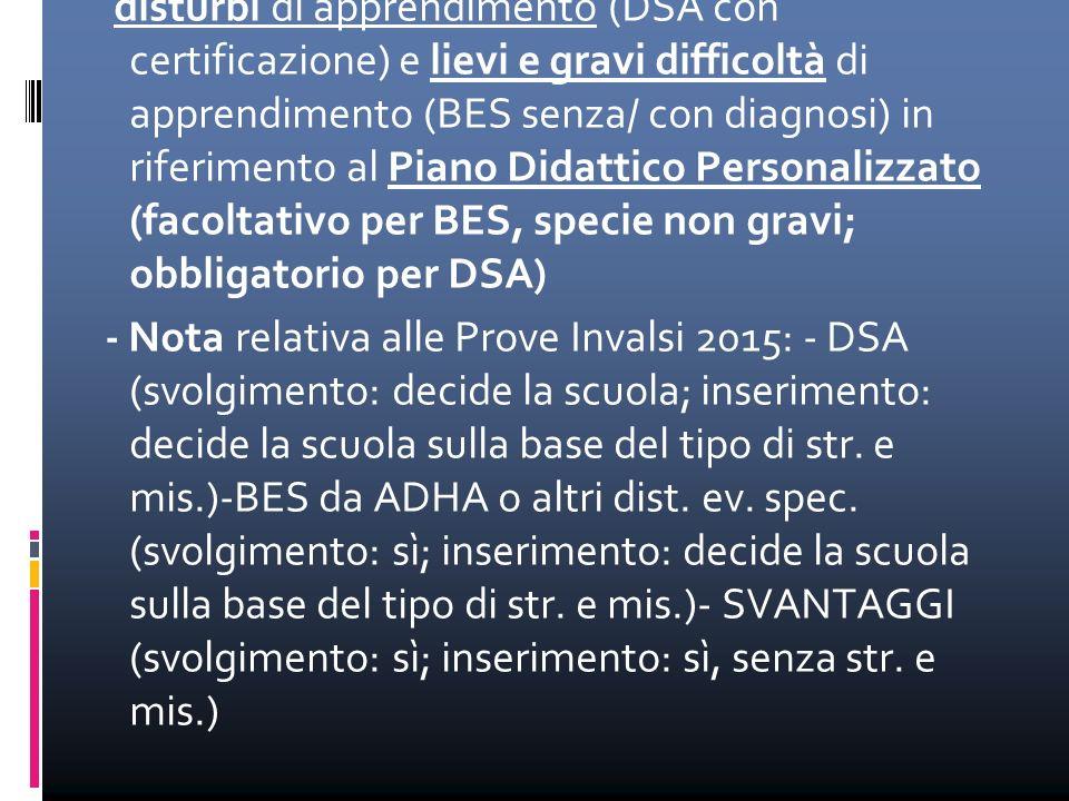 -NOTA del MIUR del 22 novembre 2013: disturbi di apprendimento (DSA con certificazione) e lievi e gravi difficoltà di apprendimento (BES senza/ con di