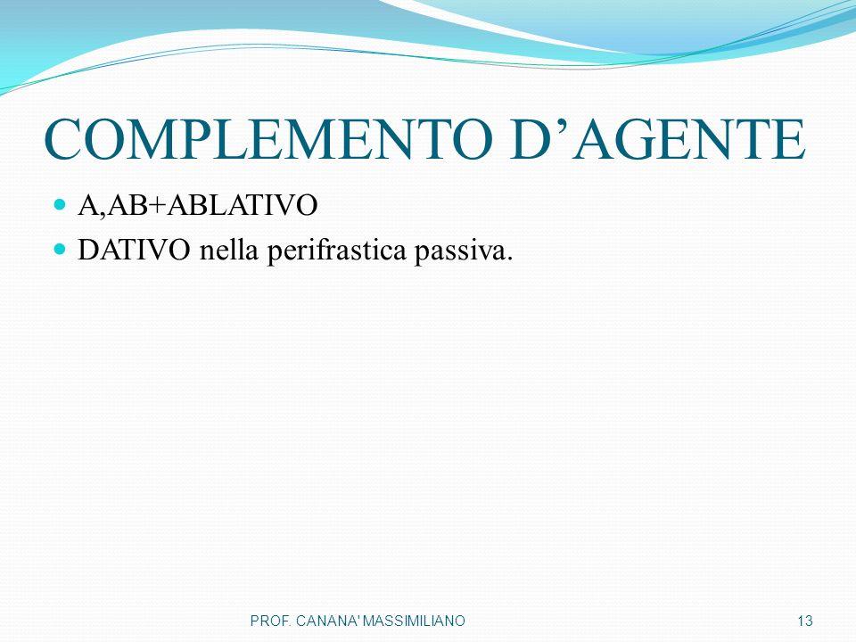 COMPLEMENTO D'AGENTE A,AB+ABLATIVO DATIVO nella perifrastica passiva. 13PROF. CANANA MASSIMILIANO