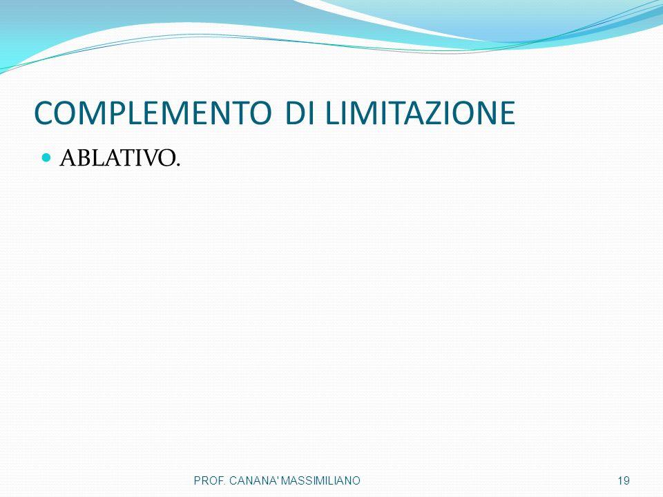 COMPLEMENTO DI LIMITAZIONE ABLATIVO. 19PROF. CANANA MASSIMILIANO