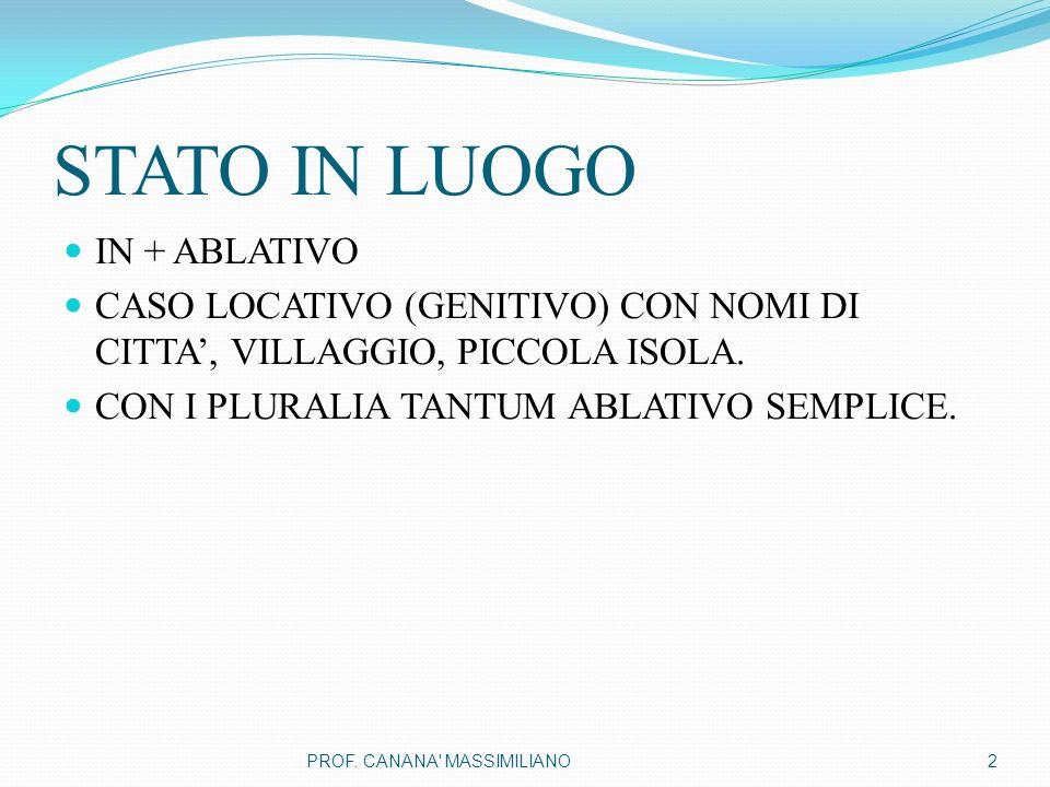 STATO IN LUOGO IN + ABLATIVO CASO LOCATIVO (GENITIVO) CON NOMI DI CITTA', VILLAGGIO, PICCOLA ISOLA. CON I PLURALIA TANTUM ABLATIVO SEMPLICE. 2PROF. CA
