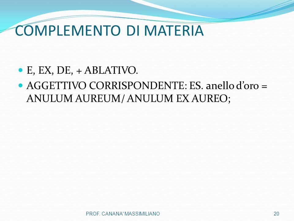 COMPLEMENTO DI MATERIA E, EX, DE, + ABLATIVO.AGGETTIVO CORRISPONDENTE: ES.