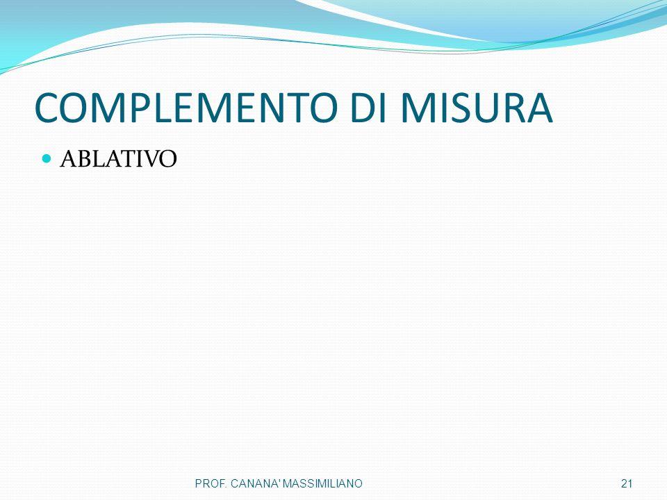 COMPLEMENTO DI MISURA ABLATIVO 21PROF. CANANA MASSIMILIANO