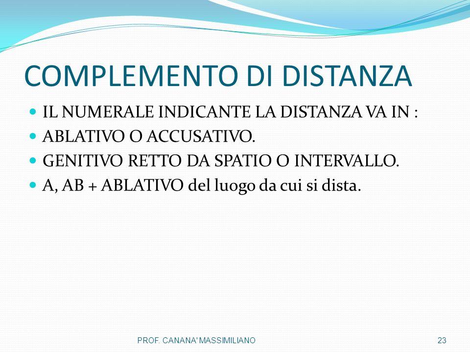 COMPLEMENTO DI DISTANZA IL NUMERALE INDICANTE LA DISTANZA VA IN : ABLATIVO O ACCUSATIVO.