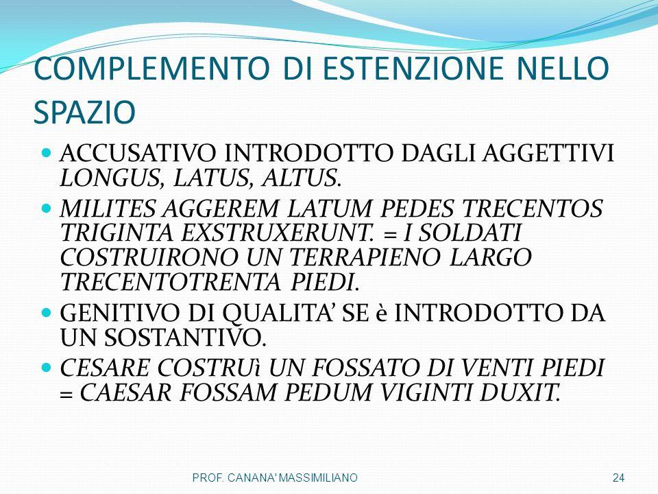 COMPLEMENTO DI ESTENZIONE NELLO SPAZIO ACCUSATIVO INTRODOTTO DAGLI AGGETTIVI LONGUS, LATUS, ALTUS.