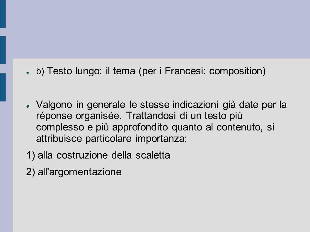 b) Testo lungo: il tema (per i Francesi: composition) Valgono in generale le stesse indicazioni già date per la réponse organisée.