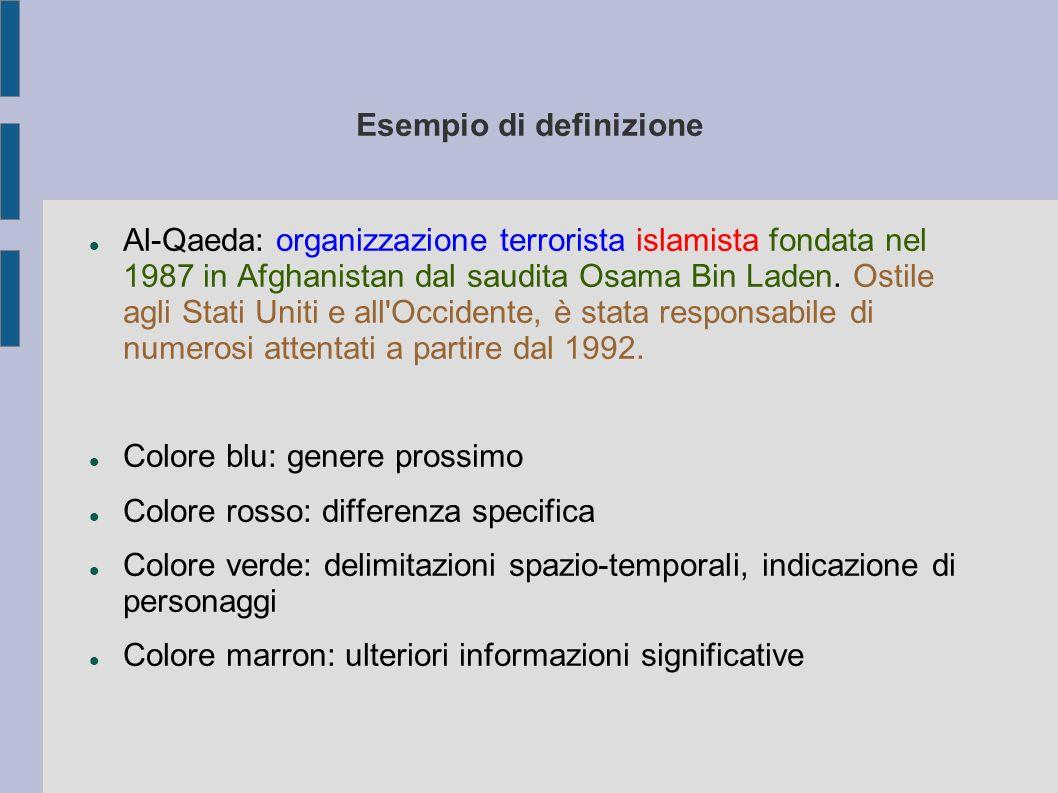 Esempio di definizione Al-Qaeda: organizzazione terrorista islamista fondata nel 1987 in Afghanistan dal saudita Osama Bin Laden.