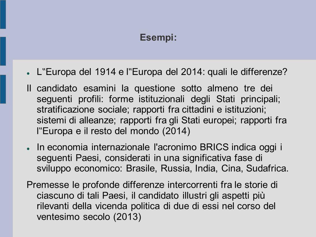 """Esempi: L """" Europa del 1914 e l """" Europa del 2014: quali le differenze."""