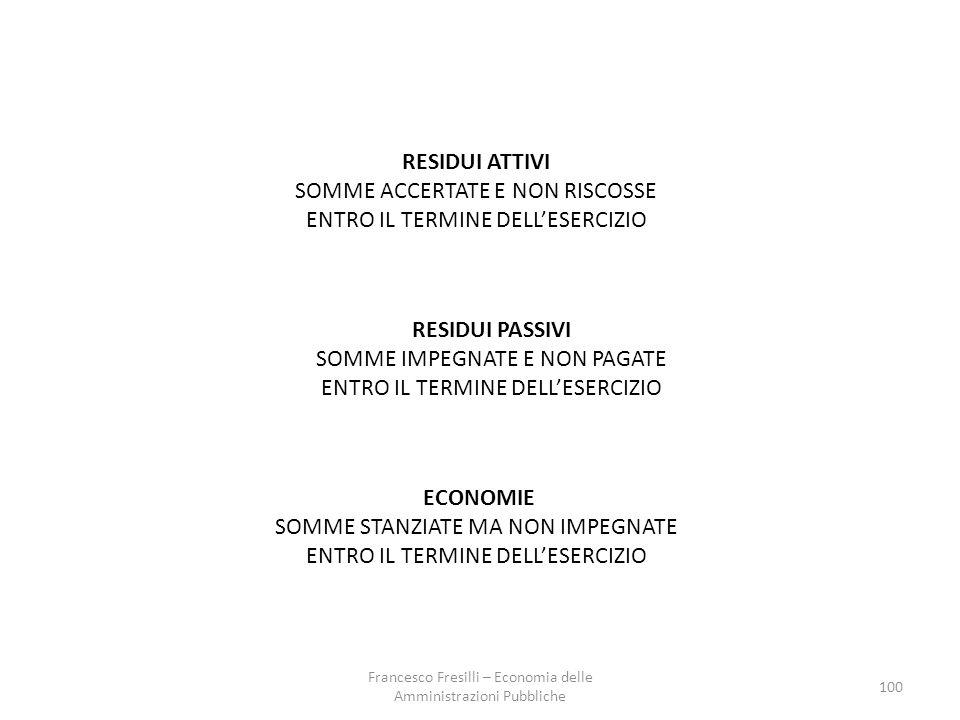 100 RESIDUI ATTIVI SOMME ACCERTATE E NON RISCOSSE ENTRO IL TERMINE DELL'ESERCIZIO RESIDUI PASSIVI SOMME IMPEGNATE E NON PAGATE ENTRO IL TERMINE DELL'ESERCIZIO ECONOMIE SOMME STANZIATE MA NON IMPEGNATE ENTRO IL TERMINE DELL'ESERCIZIO Francesco Fresilli – Economia delle Amministrazioni Pubbliche