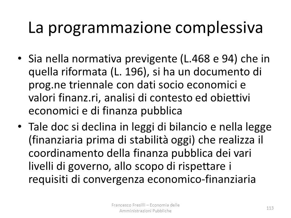 La programmazione complessiva Sia nella normativa previgente (L.468 e 94) che in quella riformata (L.